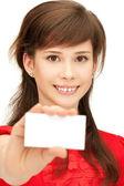 Ragazza adolescente con business card — Foto Stock