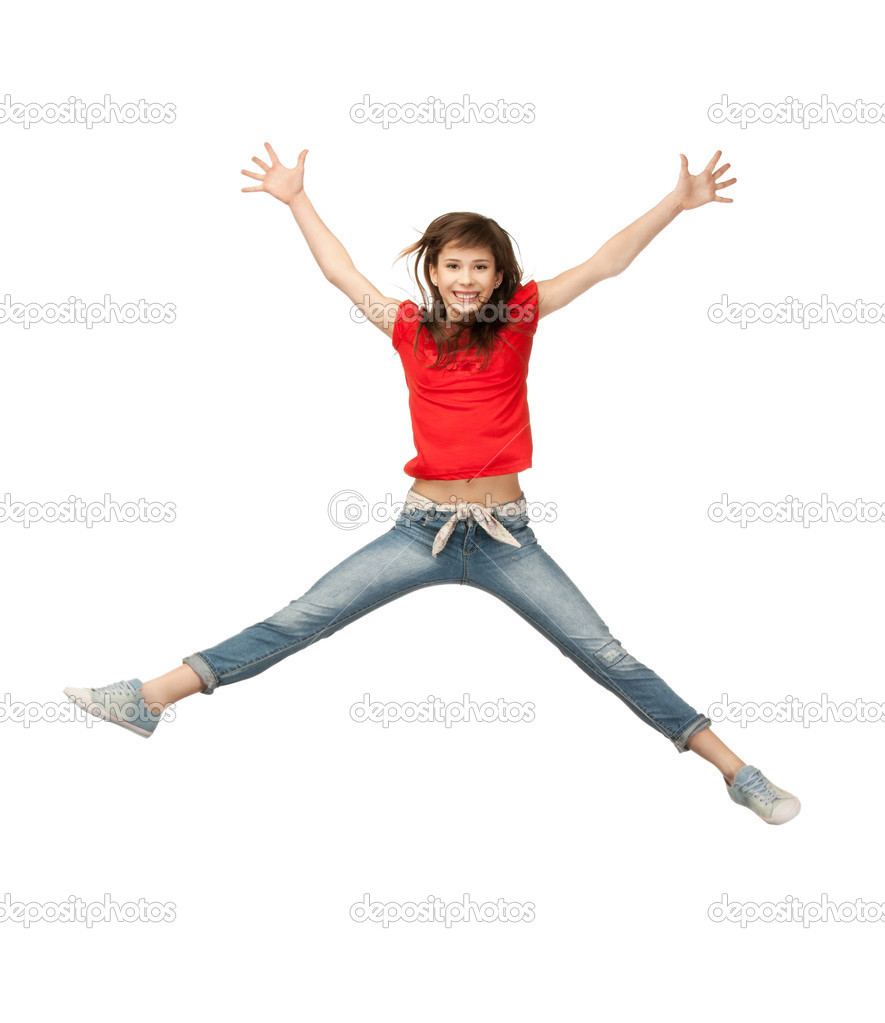 Bright picture of happy jumping teenage girl — Stock Photo #5665187