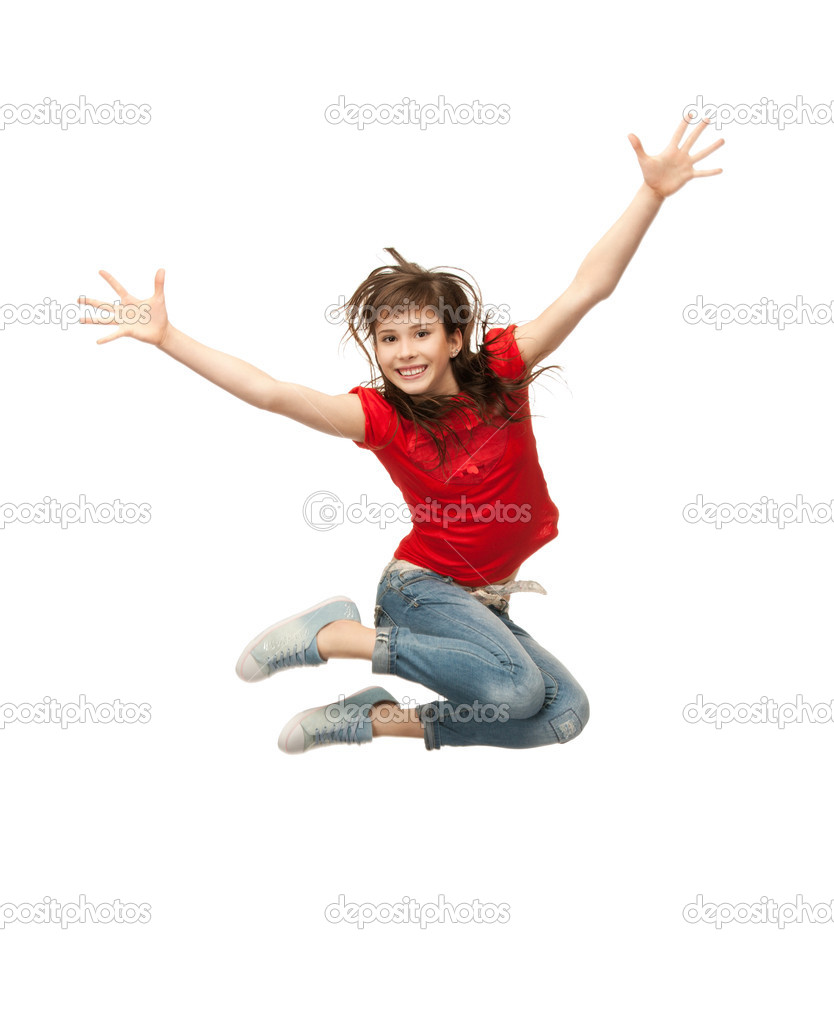 Bright picture of happy jumping teenage girl — Stock Photo #5665190