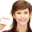 Teenage girl with business card — Stock Photo #5689806