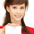 Teenage girl with business card — Stock Photo #5689816
