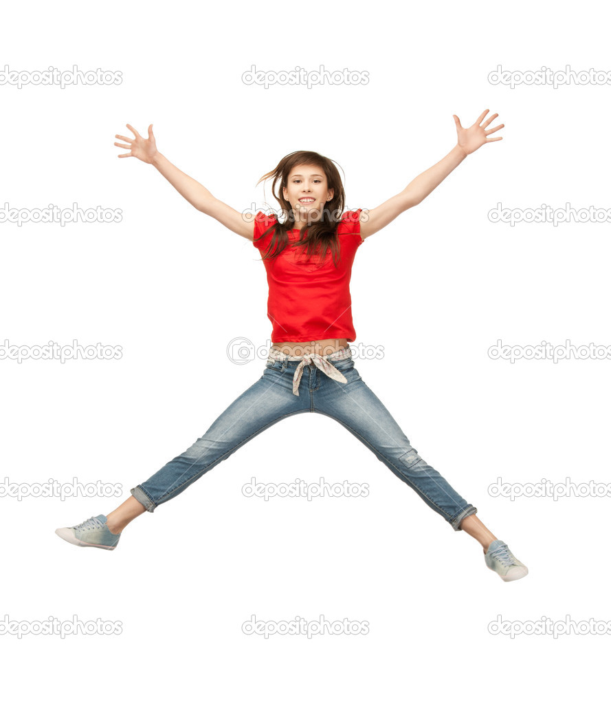 Bright picture of happy jumping teenage girl — Stock Photo #5689870