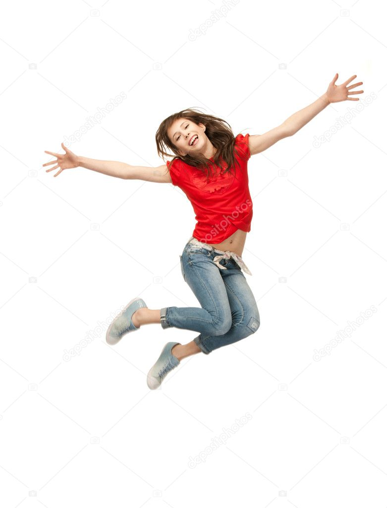 Bright picture of happy jumping teenage girl — Stock Photo #5689880