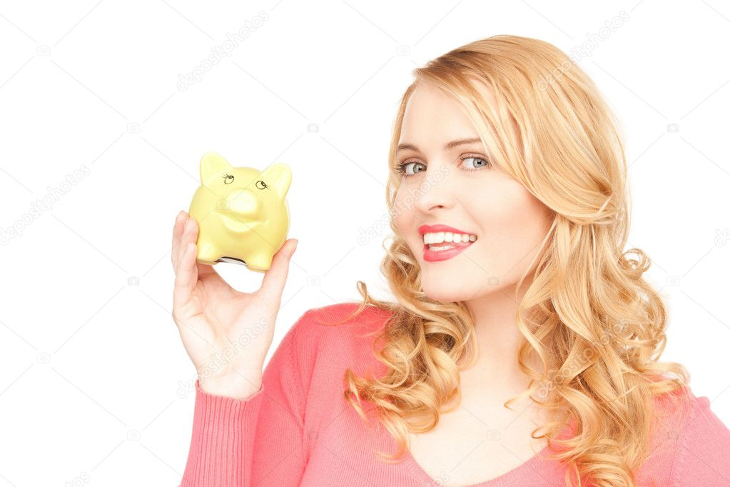 Picture of lovely woman with piggy bank — Photo #5774250