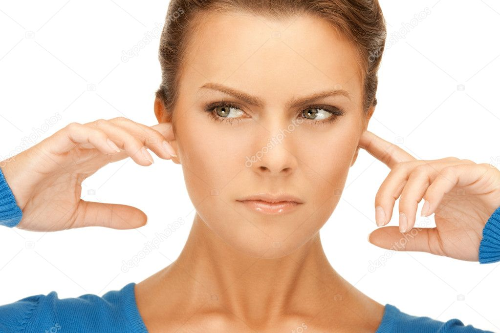 Picture of woman with fingers in ears — Stock Photo #5780882