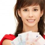 Teenage girl with euro cash money — Stock Photo #5934051