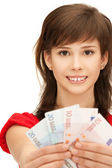 Teenage girl with euro cash money — Stock Photo