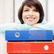 Woman with folders — Stockfoto #5994158