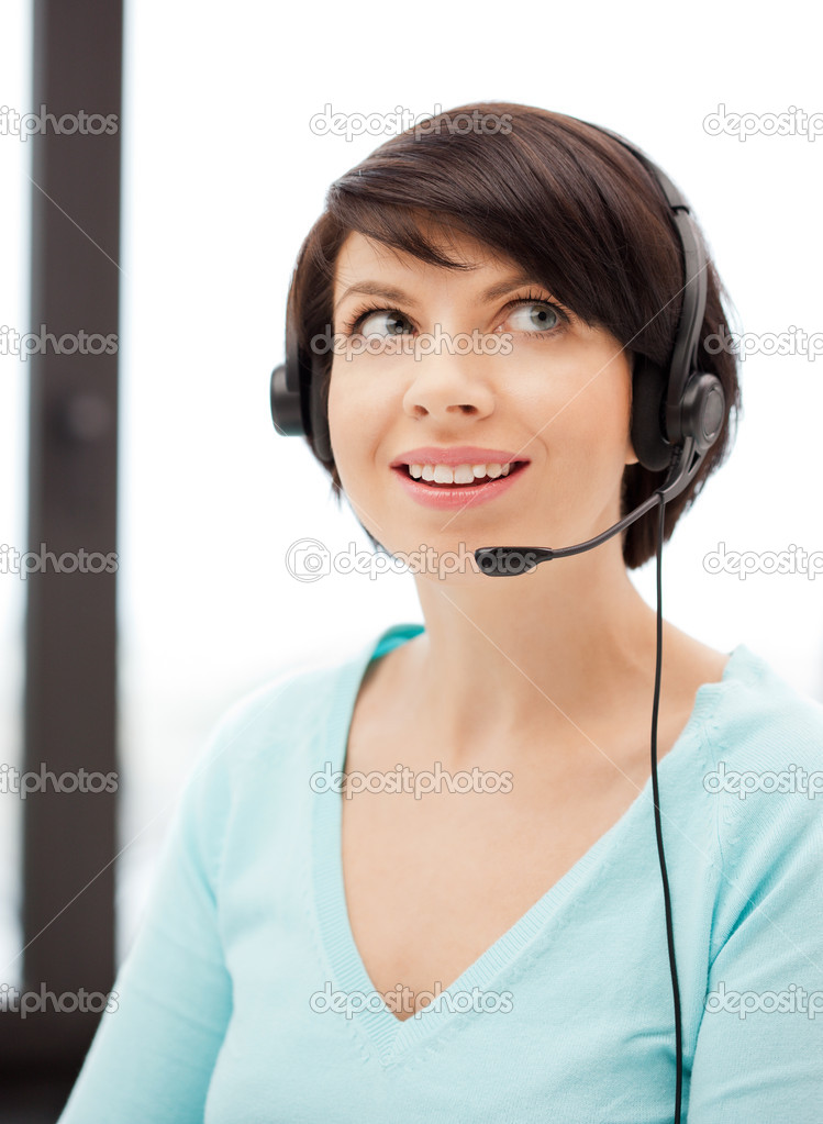 Bright picture of friendly female helpline operator — Stock Photo #6052302