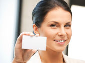 Woman with business card — Stockfoto