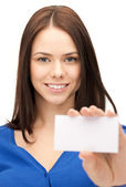 Woman with business card — Stock Photo
