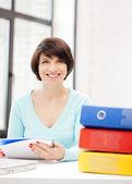 Woman with folders — Stockfoto