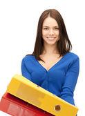 Mulher com pastas — Foto Stock