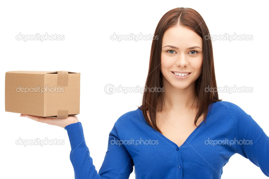 Picture of attractive businesswoman with cardboard box — Stock Photo #6224968