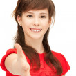 Teenage girl with an open hand ready for handshake — Stock Photo #6248188