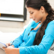 Calm woman with big notepad - Stock Photo