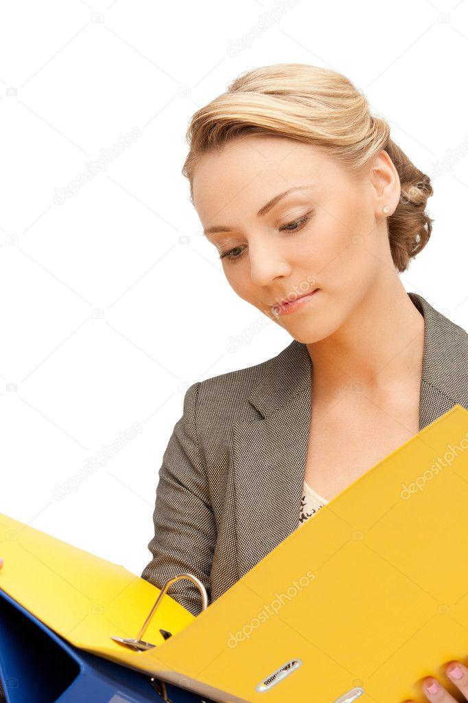 Bright picture of beautiful woman with folders — Stock Photo #6275815