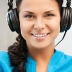 Happy teenage girl in big headphones — Stock Photo #6287509