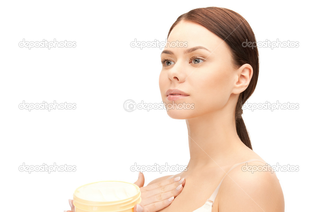 Picture of beautiful woman with moisturizing creme — Foto Stock #6287223