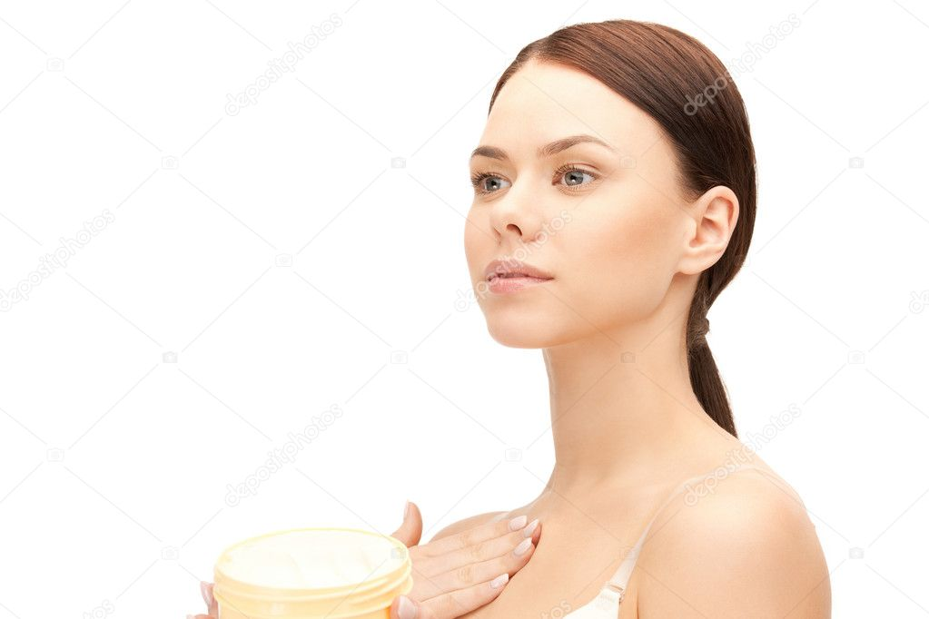 Picture of beautiful woman with moisturizing creme — ストック写真 #6287223