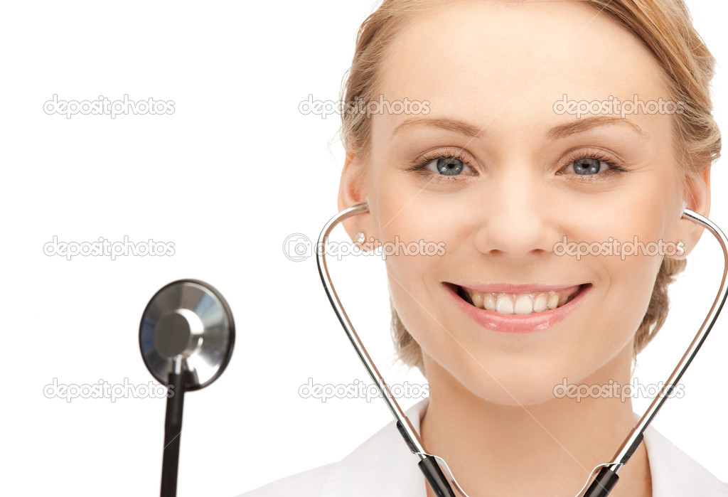 Picture of attractive female doctor with stethoscope — Stock Photo #6413066