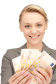 Lovely woman with euro cash money — Stockfoto