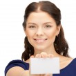 Woman with business card — Stock Photo #6635037