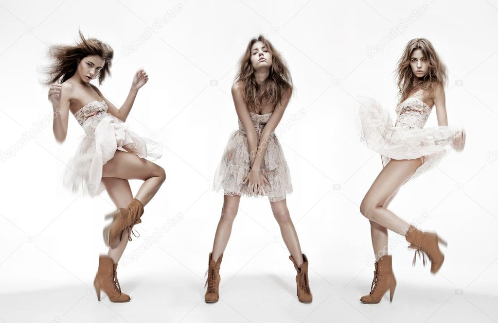 Triple image of the same fashion model in different poses — Stock Photo #6662546