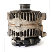 Old electric motor generator, over white background — Stock Photo
