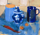 Painting. Still life with blue cups and pepper — Stock Photo