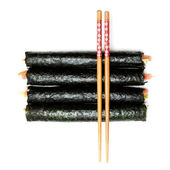 Sushi and Chopsticks on a white background — Stock Photo