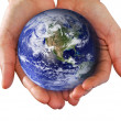 Human Hand Holding the World in Hands — Stock Photo