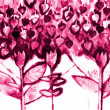 The hand painted painting of stylized flowers - Stock Photo