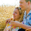 Attractive loving couple in the wheat field — Stock Photo