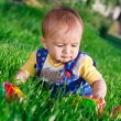 Baby girl in the grass — Stock Photo