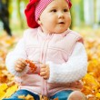 Baby in autumn leaves — Stock Photo #5759096