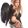 Angel with black wings — Stockfoto