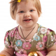 Royalty-Free Stock Photo: Smiley girl holding Xmas balls