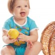 Baby with apple — Stock Photo