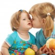 Kissing little sister — Stock Photo