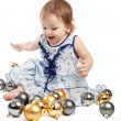 Playing with Christmas balls — Stock Photo
