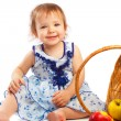 Happy toddler and fruit — Stock Photo