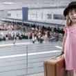 Girl at the airport — Stok fotoğraf