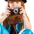 Girl with vintage camera — Stockfoto