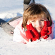 Smiling woman in the snow — Stock Photo