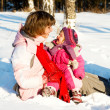 Mother and baby in snow — Stock Photo #5759676