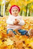 Autumn kid — Stock Photo