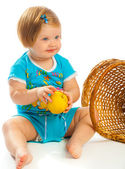 Baby girl holding apple — Stock Photo