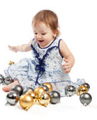 Playing with Christmas balls — Stock Photo
