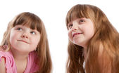 Little girls look up — Stock Photo